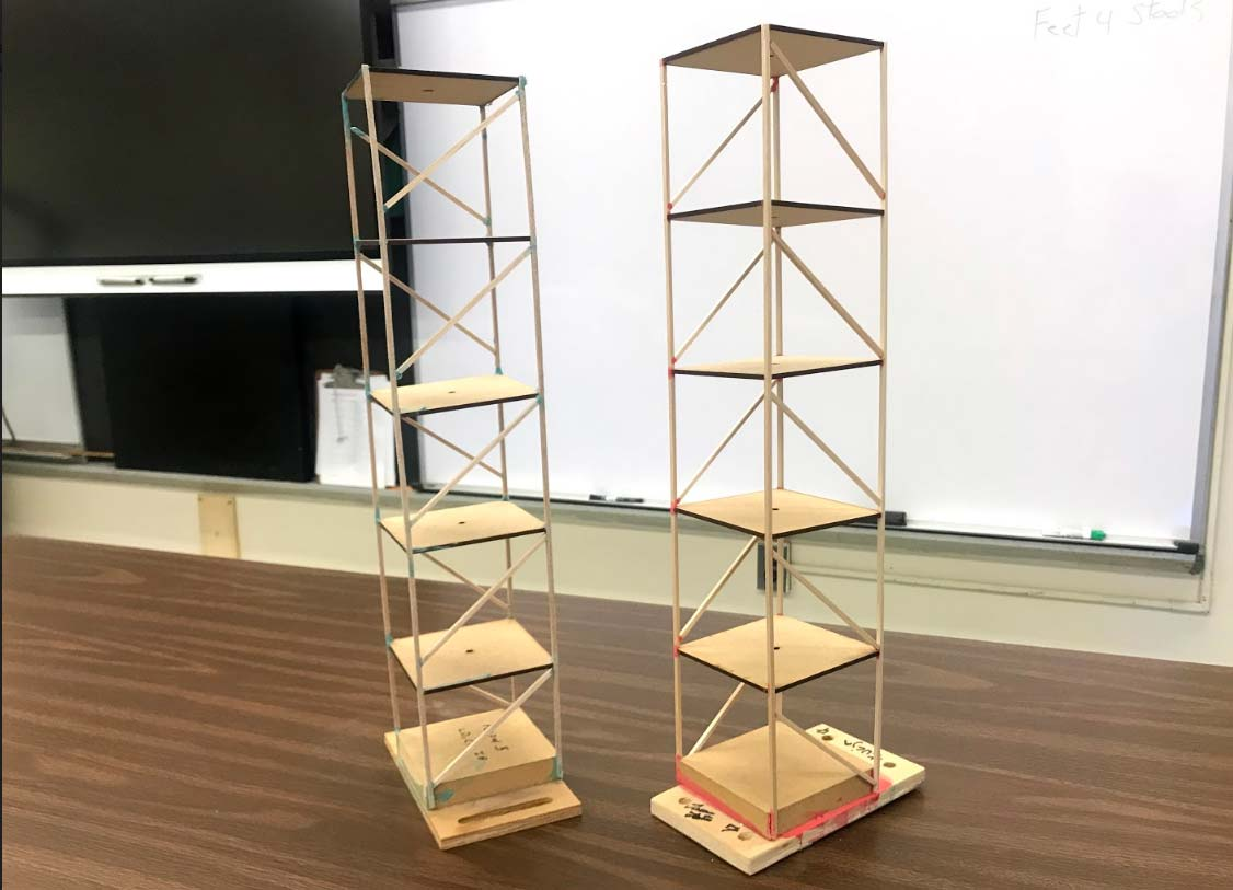 Student built earthquake resistant buildings model