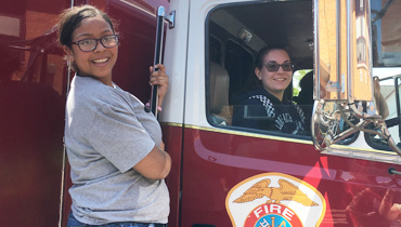Students visiting NJ Fire Truck Demonstration
